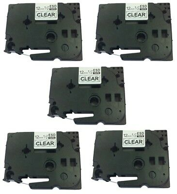5PK 12mm Label tape For Brother P-TOUCH TZ-131 TZe-131 Black on Clear 26.2ft