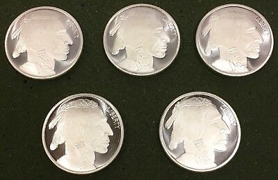 Lot of 5 - 1 Troy oz .999 Fine Silver Liberty Indian Head Buffalo Round