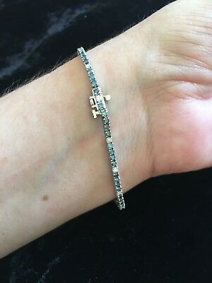 BLUE DIAMOND BRACELET 7 INCHES 1.90 KARATS BLUE AND .50 WHITE DIAMONDS In 14 K