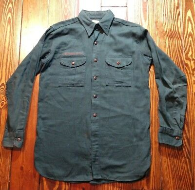 """VINTAGE 1940's BOY SCOUTS of AMERICA EXPLORERS B.S.A. DARK GREEN SHIRT Large 42"""""""