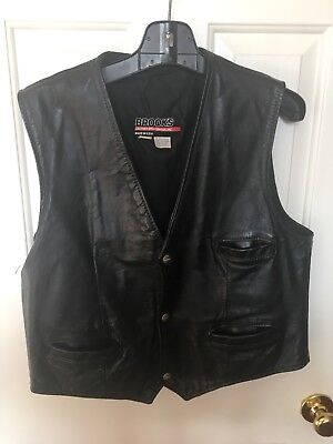 Vintage Brooks Leather Vest Mens M Black Motorcycle Button Down - Made In USA