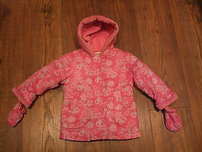 w baby girls age 9 - 12 months pink floral ladybird jacket gloves hooded Winter