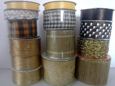 NEW-Lot of 14 Spools of Ribbon-Gold-Brown-Green-Metallic-Satin-Wired/Non-Wired