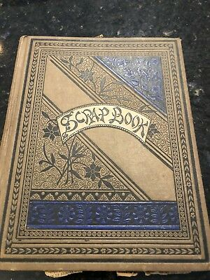 ANTIQUE SCRAP BOOK 1880s VICTORIAN ART COVER OLD NEWSPAPER CLIPPINGS NICE SIZE