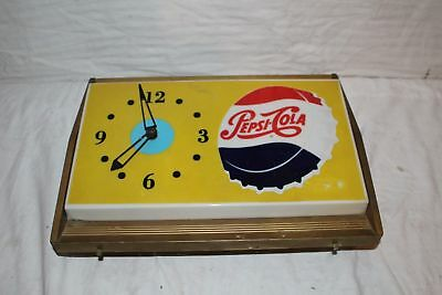 "Vintage 1950's Pepsi Cola Soda Pop Bottle Cap Gas Station 17"" Lighted Clock Sign"