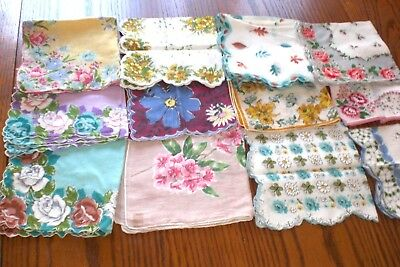 Lot of 12 Ladies Handkerchiefs Colorful Florals