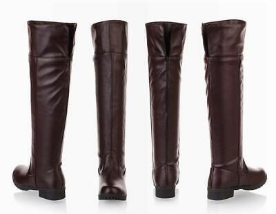 Womens Girls Cosplay Shoes Dance Team Show Boots Flat Mid Knee High Riding Boots