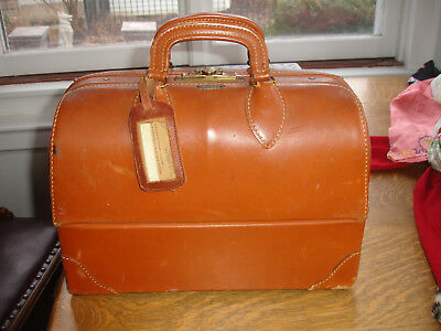 Antique Brown Leather Doctor Physician Medical Bag Emdee Schell Compartments