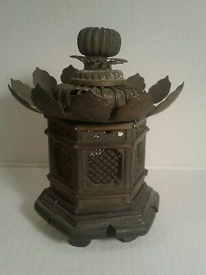 """6"""" Antique Chinese Colored Glaze Copper Pegoda Hexagon  lamp lantern as is."""