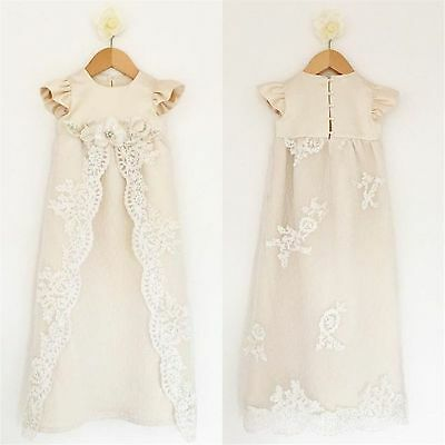 9-12M Soft Long Baptism Gown Christening Dresses With HAT Baby Clothes On Stock
