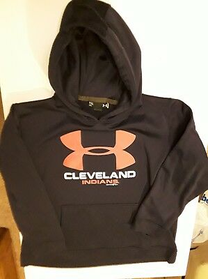 Boys Under Armour Cleveland Indians Hoodie Sweatshirt YXL Loose Fit
