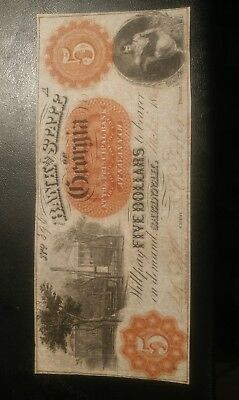 Bank Of Georgia, Civil War, 1862, $5 Obselete Banknote