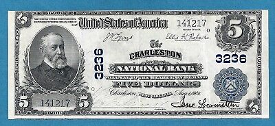 1902 $5 Charleston National Bank of West Virginia charter 3236 Sharp Extra Fine