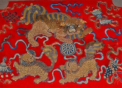 Antique Chinese Embroidery Gold Thread Peking Knot Buddhistic Lions Foo Dogs