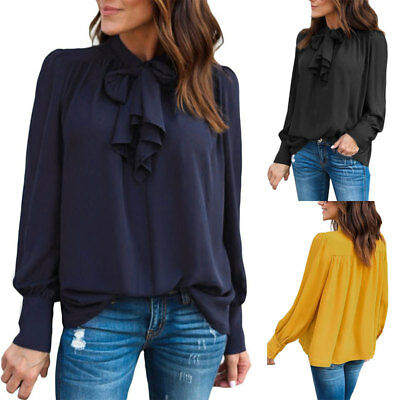 Women Ladies Tie Neck Loose Blouse Summer Long Sleeve Casual Shirt Tops Work-out