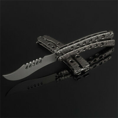 Retro Practice BALISONG METAL Tactical Combat Trainer BUTTERFLY Knife with Sheat