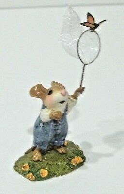 Wee Forest Folk FLUTTERBY M-461 Mouse in Blue w/Butterfly Signed WP with Box