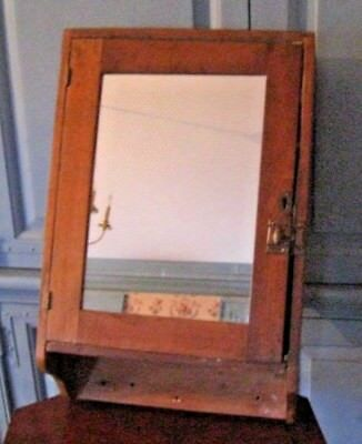 Vintage Antique wall mount wood medicine cabinet with mirror