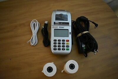 NICE Working FIRST DATA FD50Ti  CREDIT CARD TERMINAL WITH POWER ADAPTER 2 Rolls