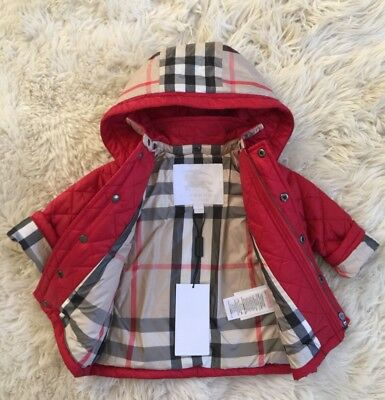 Nwt Authentic Baby Boy Girl Burberry Kids Red Nova Check Hooded Jacket Coat 9M