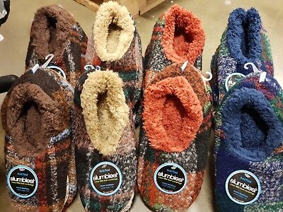 New - Mens Slumbies Slippers Fluffy - Bold Plaid - Small / Medium / Large