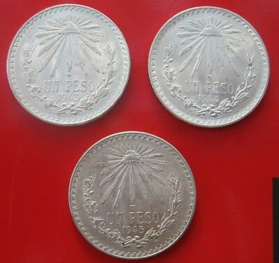 Mexico 1943, 1944 & 1945 Silver Peso Lot~All BU Coins~Beautiful Mint Luster