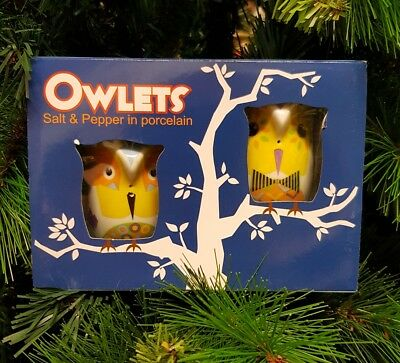 New - Collectable Salt & Pepper Shakers - Porcelain - Owls Yellow - 2 Pack
