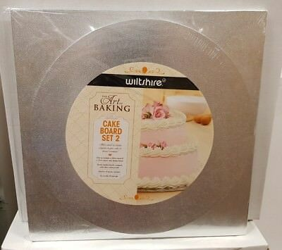 Brand New - Wiltshire Cake Board Set Of 2 - Silver - Round & Square