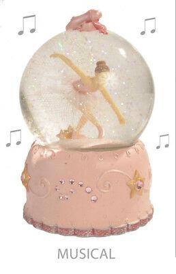 NEW - GIRLS COLLECTABLE MUSICAL BALLERINA WATERBALL SNOWGLOBE - PINK - 8x10x10CM