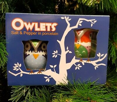 New - Collectable Salt & Pepper Shakers - Porcelain - Owls Multicolour - 2 Pack