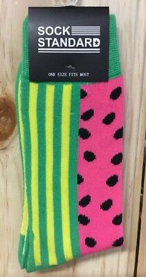 New - Sock Standard Socks - Pink Melon Design - One Size Fits Most -Novelty Fun