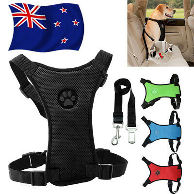 Breathable Dog Car Harness Safety Air Mesh Puppy Seat Belt Clip Lead Dogs Pet AU