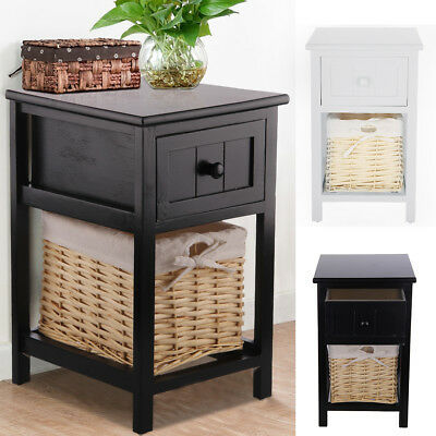 Pair of Shabby Chic Bedside Unit Drawers Cabinet Wicker Storage Tables New