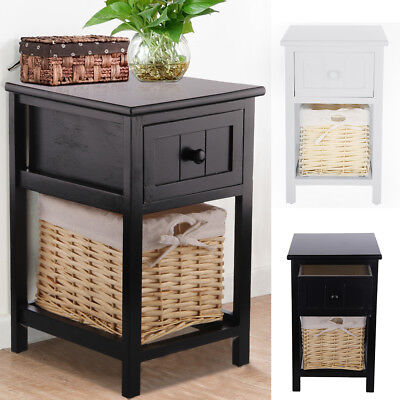 Shabby Chic Bedside Unit Drawers Cabinet Wicker Storage Tables White/Black/Grey