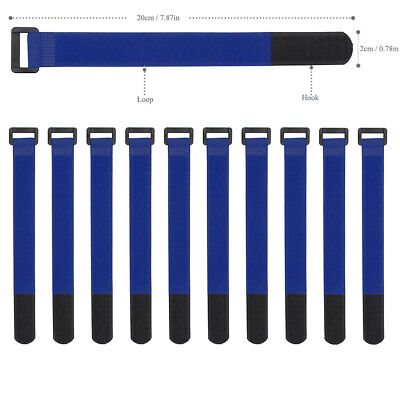 10x Blue Self Adhesive Hook Loop Cable Ties Fastener Strap Cord Organizer 20cm