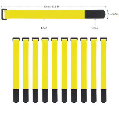 10x Yellow Self Adhesive Hook Loop Cable Ties Fastener Strap Cord Organizer 30cm