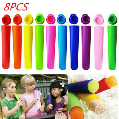 8pcs Silicone Icypole Popsicle Molds Lolly Icy Pole Moulds Jelly Pop Maker 40ML