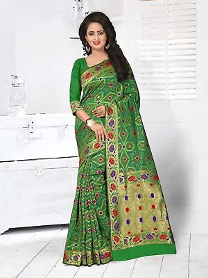 Banarasi SIlk Zari Border work Sari Exclusive Party wear Green Embroidered Saree
