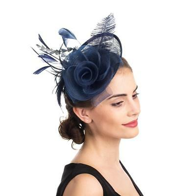SAFERIN Fascinator Hat Feather Mesh Net Veil Party Flower Derby with Clip...