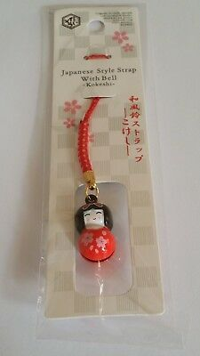 KOKESHI  Japanese style  strap with Bell (red)
