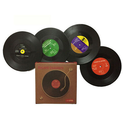 Retro Vinyl Record CD Coaster Music Drink Cup Holder Mats Tableware Gift WMS2