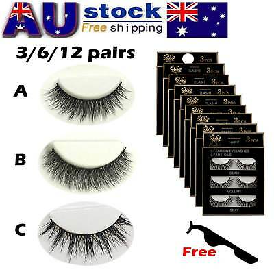 AU Stock 12 Pairs 3D Natural Long Thick Makeup Eyelashes Cross False Eye Lashes