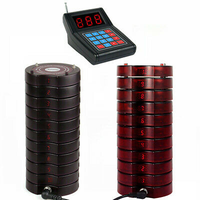 Restaurant Wireless Paging Queuing System 1*Keypad+20*Coaster Pager 999CH 433MHz