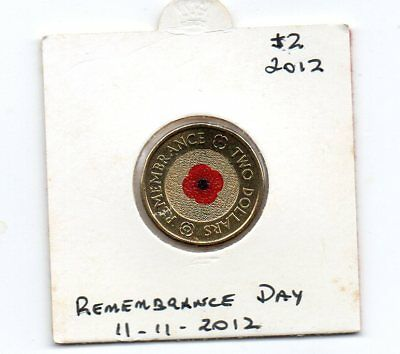 "Australian $2 2012 UNC "" Remembrance Day 11.11.2012  Coin"