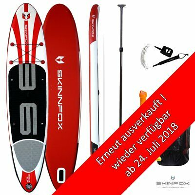Skinfox WHALE DOUBLE-Layer SUP-Board CARBON-SET weiss-rot Paddelboard 365x80x15;