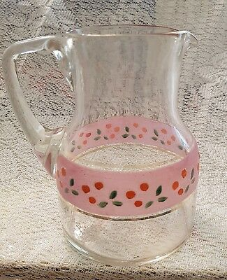Antique Victorian Hand Made and decorated glass water jug