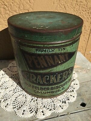 Vintage Pennant Crackers Tin The Felber Biscuit Co. 16 Ozs. Columbus, Ohio