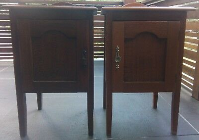 A pair of Silky oak bedside tables