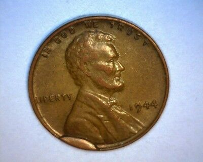 1944 Lincoln Cent, Major Die Break,  Obverse Cud *rare* Us Error Coin