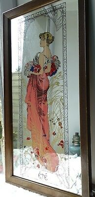 Vintage Miroir Mucha Art Nouveau Reproduction Scandecor